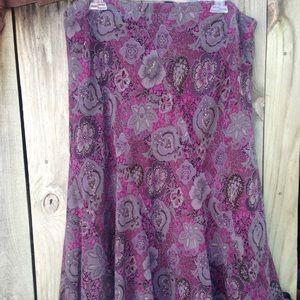 Covington Purple Paisley-type print Skirt, Size 16
